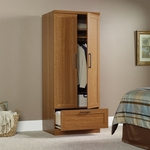 HomePlus Wooden 71''H Wardrobe Cabinet with Garment Rod - Sienna Oak [411802-FS-SRTA]