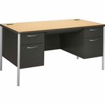 The HON Company Mentor Series Double Pedestal Desk in Natural Maple & Charcoal Finish [HONA88962DS-FS-SP]