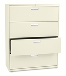 HON® 600 Series Four-Drawer Lateral File - 42w x 19-1/4d - Putty [HON694LL-FS-NAT]