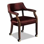 HON® 6550 Series Guest Arm Chair with Casters,  Mahogany/Oxblood Vinyl Upholstery [HON6552NEJ65-FS-NAT]