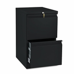 HON® Efficiencies Mobile Pedestal File w/Two File Drawers - 19-7/8d - Black [HON33820RP-FS-NAT]