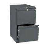 HON® Efficiencies Mobile Pedestal File w/Two File Drawers - 19-7/8d - Charcoal [HON33820RS-FS-NAT]