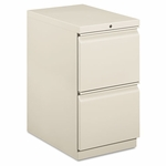 HON® Efficiencies Mobile Pedestal File w/Two File Drawers - 22-7/8d - Light Gray [HON33823RQ-FS-NAT]