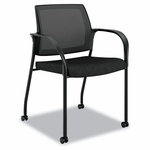 HON® Ignition Series Mesh Back Mobile Stacking Chair - Black Fabric Upholstery [HONIS107NT10-FS-NAT]