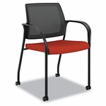 HON® Ignition Series Seating Mesh Back Mobile Stacking Chair,  Poppy Fabric Upholstery [HONIS107CU42-FS-NAT]