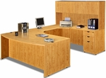 Honey Bow Front Desk U Suite with Hutch [ML347-HONEY-FS-MAR]