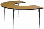 Horseshoe Shaped #226 Activity Table with Lotz Armor Edge and Anti-Gum Coated Phenolic Backer - 72''W x 48''D x 23.25-32.25''H [ACT7226-NSL]