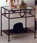 Horseshoe 21''W x 22''H Wrought Iron Night Stand with Beveled Glass Top [GMC-NS21-4-FS-GCM]