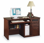kathy ireland Home™ Huntington Collection 55.5''W x 29''H Single Pedestal Computer Desk - Burnish [HO540-B-FS-KIMF]