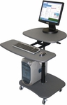 Hydraulic Height Adjustable Mobile Multimedia Cart - Gray [LAMC3037-FS-LUX]