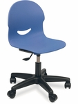 I.Q. Series Mobile Task Chair with 14.25''H - 17''H Adjustable Plastic Seat - 21.5''W x 26.5''H - 29.25''H [266015GC-VCO]