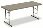 Iceberg IndestrucTables Too™ Adj Hgt Resin Folding Table,72''W x 30''D x 25-35''H,Charcoal [ICE65627-FS-NAT]