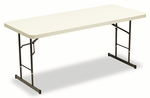 Iceberg IndestrucTables Too™ Adj Hgt Resin Folding Table,72''W x 30''D x 25-35''H,Platinum [ICE65623-FS-NAT]