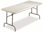 Iceberg IndestrucTables Too™ Bifold Resin Folding Table,60''W x 30''D x 29''H,Platinum [ICE65453-FS-NAT]