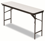 Iceberg Premium Wood Laminate Folding Table,Rectangular,60''W x 18''D x 29''H,Gray [ICE55277-FS-NAT]