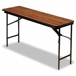 Iceberg Premium Wood Laminate Folding Table - Rectangular - 72w x 18d x 29h - Oak [ICE55285-FS-NAT]