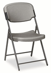 Iceberg Rough N Ready Resin Folding Chair,  Steel Frame,  Charcoal [ICE64007-FS-NAT]