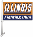 Illinois Fighting Illini Car Flag with Wall Brackett [97041-FS-BSI]