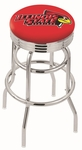 Illinois State University 25'' Chrome Finish Double Ring Swivel Backless Counter Height Stool with Ribbed Accent Ring [L7C3C25ILLSTU-FS-HOB]