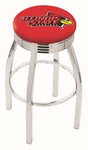 Illinois State University 25'' Chrome Finish Swivel Backless Counter Height Stool with 2.5'' Ribbed Accent Ring [L8C3C25ILLSTU-FS-HOB]