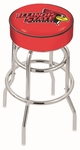 Illinois State University 25'' Chrome Finish Double Ring Swivel Backless Counter Height Stool with 4'' Thick Seat [L7C125ILLSTU-FS-HOB]