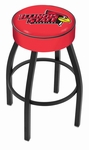 Illinois State University 25'' Black Wrinkle Finish Swivel Backless Counter Height Stool with 4'' Thick Seat [L8B125ILLSTU-FS-HOB]