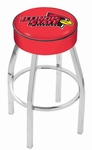 Illinois State University 25'' Chrome Finish Swivel Backless Counter Height Stool with 4'' Thick Seat [L8C125ILLSTU-FS-HOB]