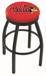 Illinois State University 25'' Black Wrinkle Finish Swivel Backless Counter Height Stool with Accent Ring [L8B2B25ILLSTU-FS-HOB]