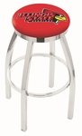 Illinois State University 25'' Chrome Finish Swivel Backless Counter Height Stool with Accent Ring [L8C2C25ILLSTU-FS-HOB]