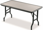 IndestrucTABLE 30'' W x 60'' D Rectangle Folding Table with Black Base - Black with Granite Inlay [65117-ICE]