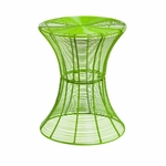 Modern Powder Coated Curved Iron Wire 14.75''Diameter x 18.5''H Outdoor Accent Table - Green [OC7602-FS-SENT]