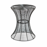 Modern Powder Coated Curved Iron Wire 14.75''Diameter x 18.5''H Outdoor Accent Table - Silver [OC7604-FS-SENT]
