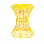 Modern Powder Coated Curved Iron Wire 14.75''Diameter x 18.5''H Outdoor Accent Table - Yellow [OC7605-FS-SENT]