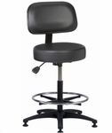 Industrial Round Vinyl ABS Base Stool with Aseptic Shroud Backrest,  Glides,  and Footring [VRB-3-FS-BRWD]