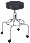 25'' H Adjustable Height Industrial High Base Lab Stool with Screw Lift - Black [3433BL-FS-SAF]