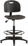 Industrial Specialty Black Polyurethane ABS Base Task Chair with Glides and Footring [PS-3-FS-BRWD]