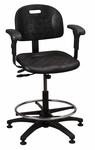 Industrial Specialty Black Polyurethane ABS Base Task Chair with Glides,  Footring,  and Adjustable Armrests [PT-2-EAA-FS-BRWD]