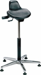 Industrial Specialty Black Polyurethane Sit Stand Stool with Cast Aluminum Base and Glides [PSITM-2-FS-BRWD]
