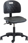 Industrial Specialty Black Polyurethane Task Chair with ABS Base and Dual Wheel Casters [PT-1-C-FS-BRWD]