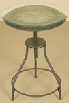 Oil Rubbed Metal and Removable Glass Top with Inlaid Clock 26''H Accent Table - Bronze [1212-FS-PAS]