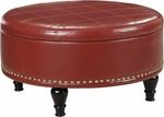 Inspired By Bassett Augusta Bonded Leather Storage Ottoman - Crimson Red [BP-AUOT32-B19-FS-OS]