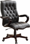 Inspired By Bassett Dixon Eco Leather Executive Chair with Wood Base and Accents - Black [BP-DXTX-EC3-FS-OS]