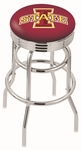 Iowa State University 25'' Chrome Finish Double Ring Swivel Backless Counter Height Stool with Ribbed Accent Ring [L7C3C25IOWAST-FS-HOB]