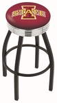 Iowa State University 25'' Black Wrinkle Finish Swivel Backless Counter Height Stool with Ribbed Accent Ring [L8B3C25IOWAST-FS-HOB]