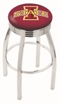 Iowa State University 25'' Chrome Finish Swivel Backless Counter Height Stool with 2.5'' Ribbed Accent Ring [L8C3C25IOWAST-FS-HOB]
