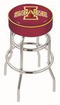 Iowa State University 25'' Chrome Finish Double Ring Swivel Backless Counter Height Stool with 4'' Thick Seat [L7C125IOWAST-FS-HOB]