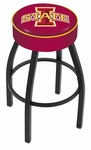 Iowa State University 25'' Black Wrinkle Finish Swivel Backless Counter Height Stool with 4'' Thick Seat [L8B125IOWAST-FS-HOB]