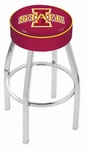 Iowa State University 25'' Chrome Finish Swivel Backless Counter Height Stool with 4'' Thick Seat [L8C125IOWAST-FS-HOB]