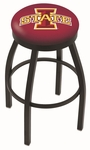 Iowa State University 25'' Black Wrinkle Finish Swivel Backless Counter Height Stool with Accent Ring [L8B2B25IOWAST-FS-HOB]
