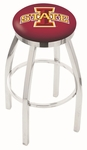 Iowa State University 25'' Chrome Finish Swivel Backless Counter Height Stool with Accent Ring [L8C2C25IOWAST-FS-HOB]
